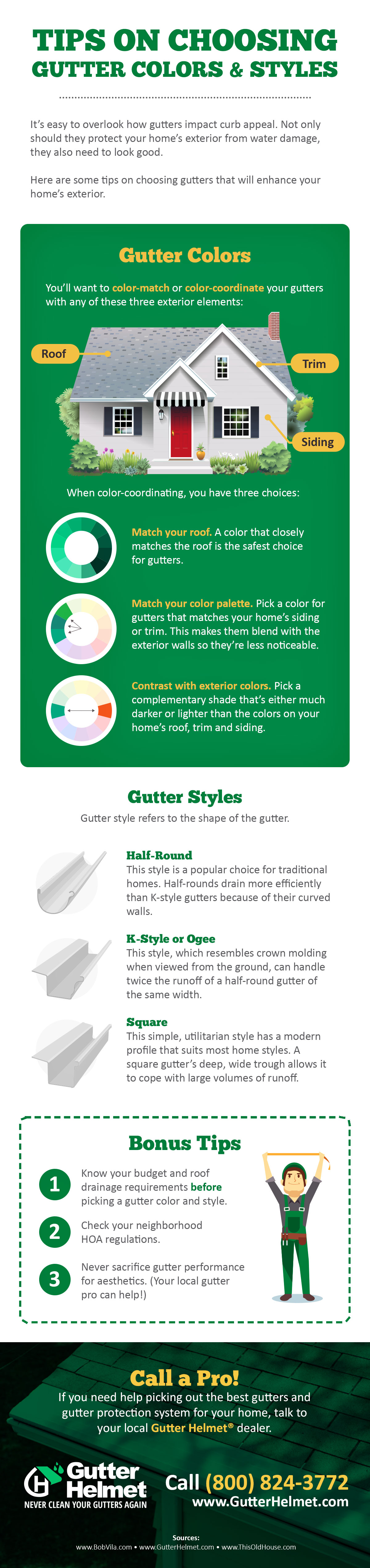 Gutter Colors And Styles Infographics